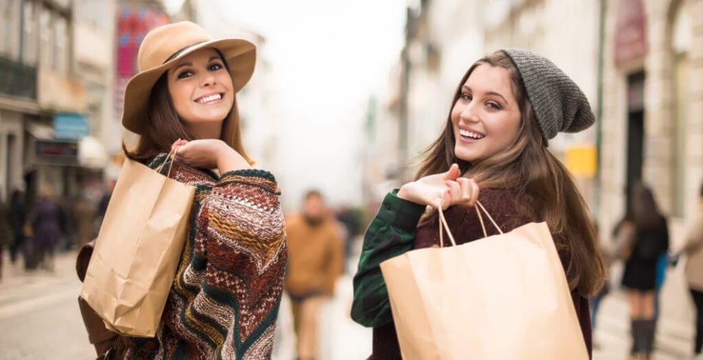Girls having fun shopping in Covina