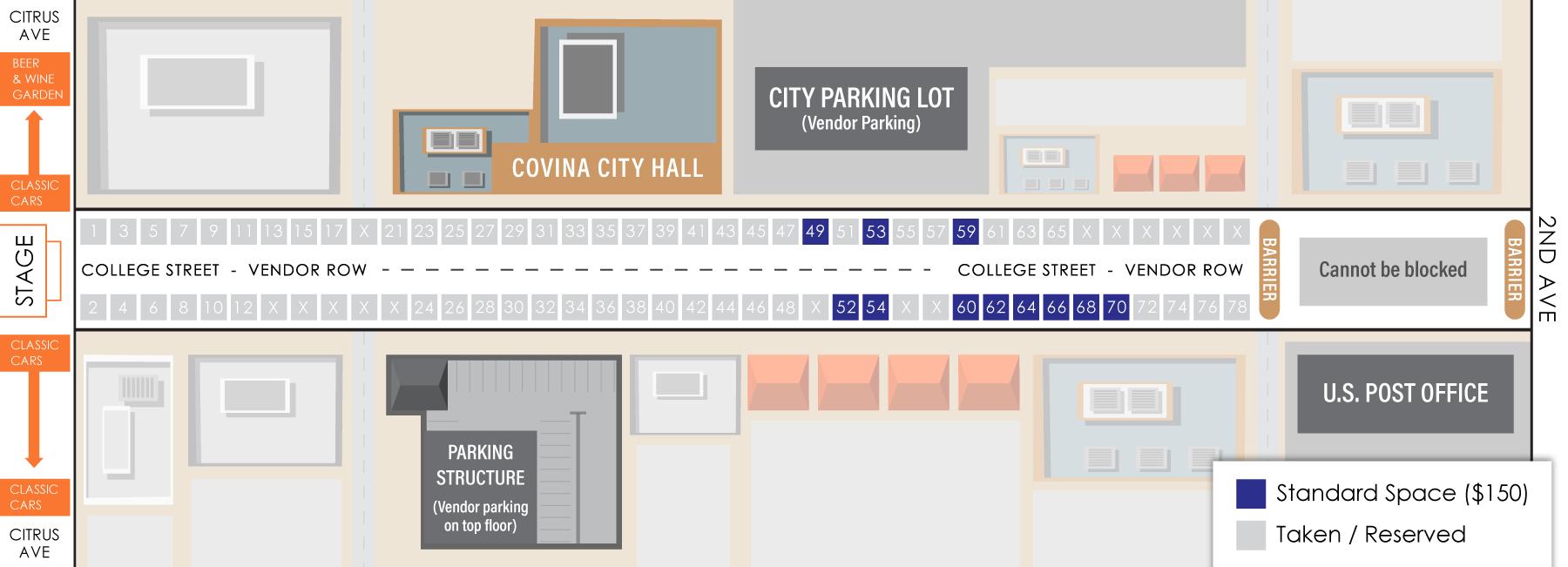 2018 Thunderfest Vendor Row Map as of 9/27/18