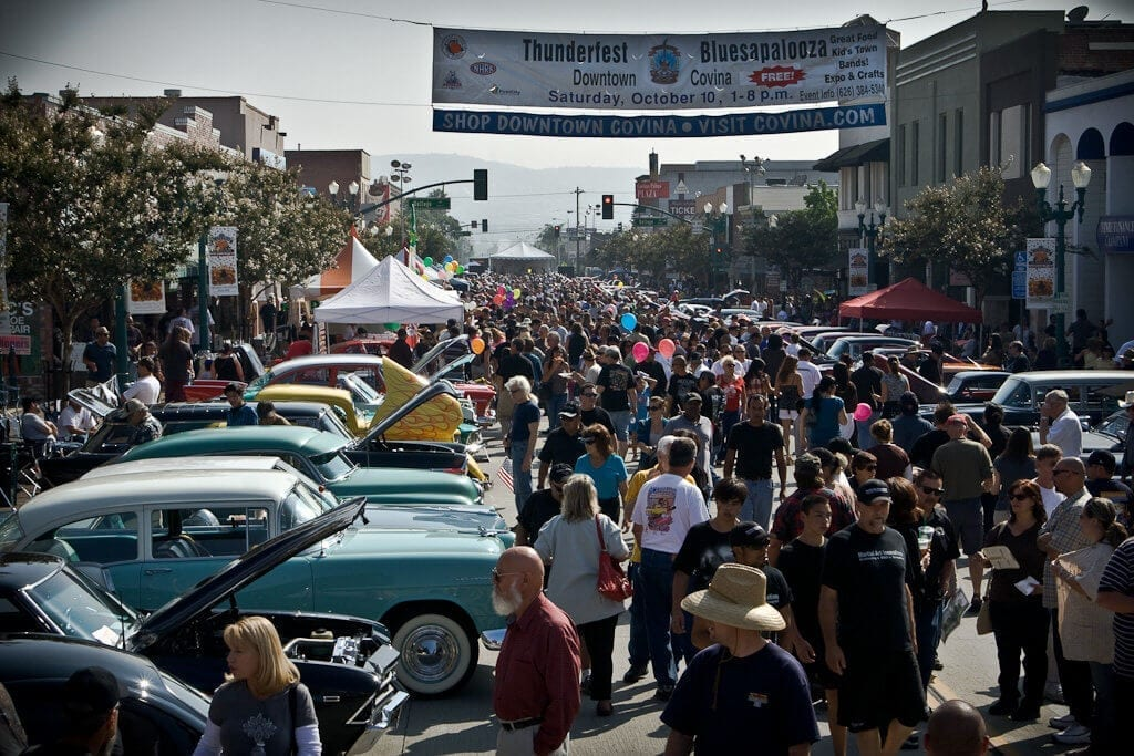 The crowd at 2013 Thunderfest Car Show in Downtown Covina